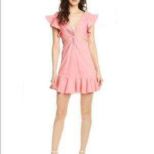 Rebecca Taylor Coral Cutout Mini Ruffled Dress M